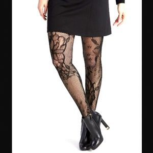 Spanx NEW Plus Fishnet Floral Shaping Black Tights